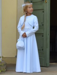 robe aube communion blanc