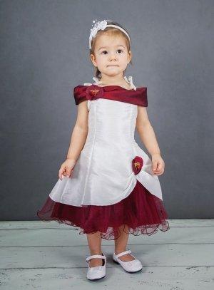 ff561fe02472a Robe ceremonie fille pour mariage enfant bordeaux pétale b3850