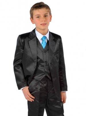 c604ec42daac8 FIN DE STOCK - Costume enfant satin noir ou gris pour mariage b4124