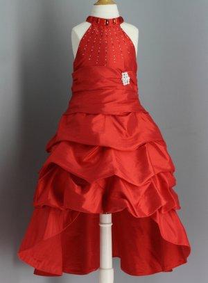 aadfc329e8db4 Robe de soirée enfant rouge pour fille Martha avec strass