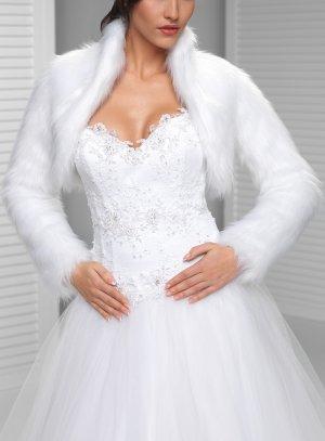 Boléro mariage fausse fourrure poils longs