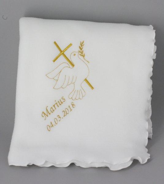 couverture de baptême bébé avec croix et colombe or prénom de l'enfant et sa date de baptême
