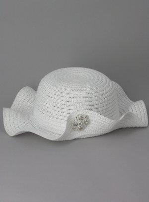 4dd43534e120 Chapeau mariage baptême bébé blanc avec strass pas cher