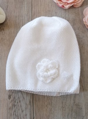 SOLDES - Bonnet baptême fille hiver blanc 6b97b6601bc