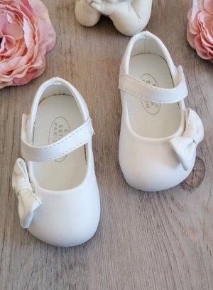 2043bcdcdc337 Chaussures de baptême fille bébé blanche pas chère - chof0002