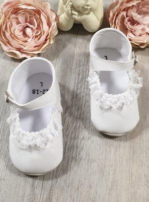 51d7c736a6583 Chaussures de baptême fille souple blanche avec dentelle