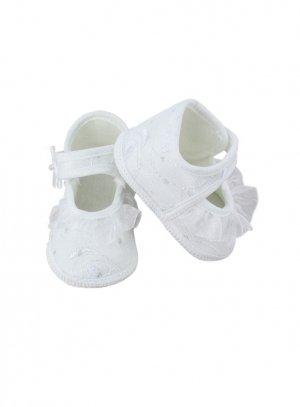 c5ec2f1a321e3 Chaussons de baptême bébé fille avec froufrou pas cher