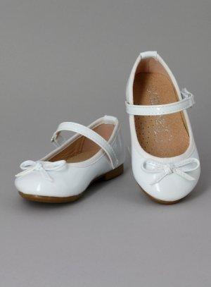 ballerine cérémonie bébé fille blanche avec lanière