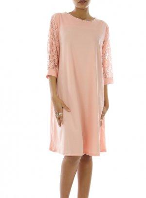 Robe de Soirée manches longues rose pale