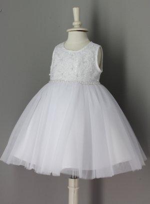 8486fc83051cb Robe de baptême bébé fille blanche avec noeud modèle Corinna
