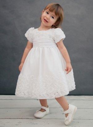 9c41d343aa53e Robe baptême bébé fille blanche avec rose modèle Olinia
