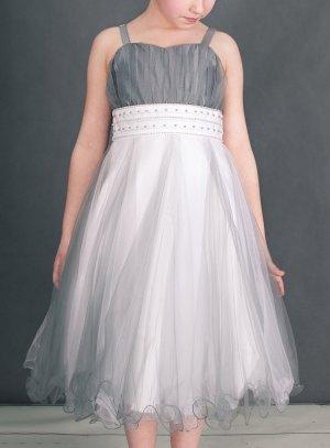 134076ddb1a17 FIN DE STOCK - Robe pour mariage fille en tulle CALISTA grise et blanche