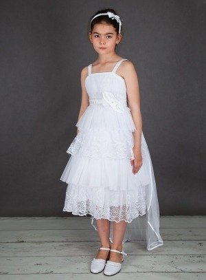 2167607530b FIN DE STOCK - Robe mariage blanche enfant avec traine et pas chère