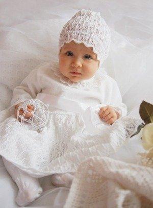 Robe crochet fillette bébé Robe de baptême en hiver blanche avec manches et  bonnet 8716e9673c8