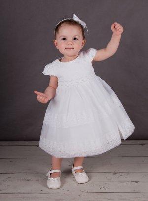 4190c3ea158 Robe de baptême dentelle Tenue blanche bébé ou petite fille