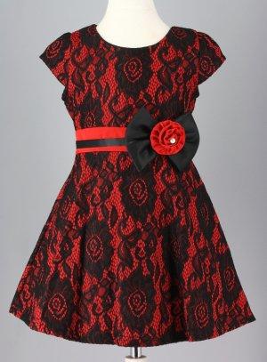 4495660f0491f FIN DE STOCK - Robe de Noël enfant rouge et noir ou blanche et noir