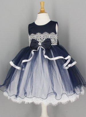 422cc43a15ecd robe mariage petite fille bleu marine et