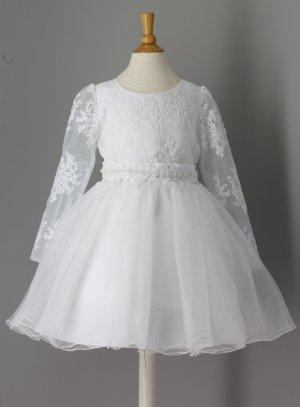 bdaa699676afc FIN DE STOCK - Robe communion baptême fille manches longues pas chère