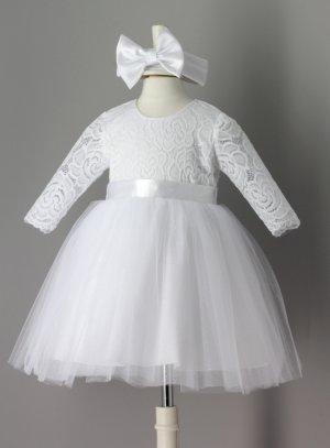 d88641faf7484 Robe baptême bébé blanche manches longues dentelle et tulle paillette