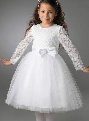 Robe cérémonie fille blanche tulle paillette