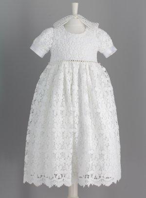 9f754968f3b Robe de baptême longue en crochet pour bébé fille Bertille
