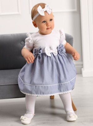 robe mariage baptême pour bébé blanc bleu