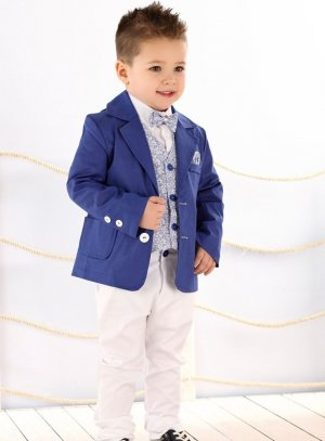 5046fb75ebd5a Costume enfant garçon mariage complet bleu et blanc Belle qualité