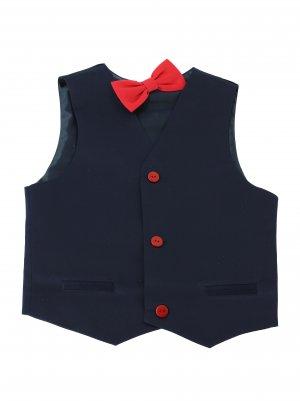 gilet costume enfant bleu marine et rouge avec noeud papillon