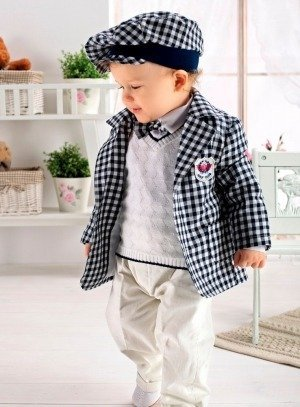 SOLDES - Costume bébé mariage complet veste, casquette blanc et marine b4870b50f3d