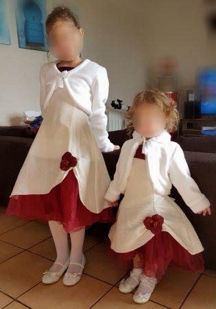 46b141a630c Mes filles portent la robe pétale ivoire et bordeaux Ref   B3850BAND