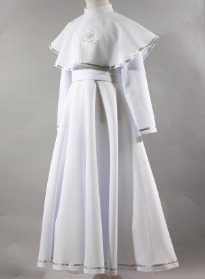 robe aube de communion manches longues et cape