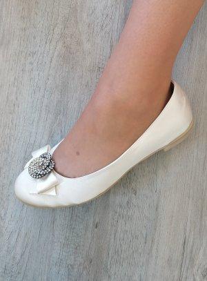 Ballerines mariage femme satin noeud et strass ivoire écrue