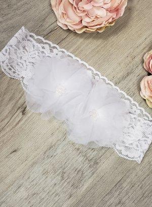 Bandeau bébé pour baptême dentelle blanche et fleurs