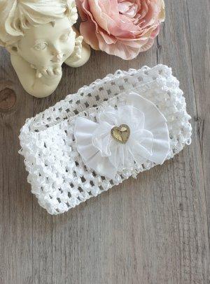 Bandeau enfant blanc filet avec noeud et strass pas cher pour mariage ou baptême