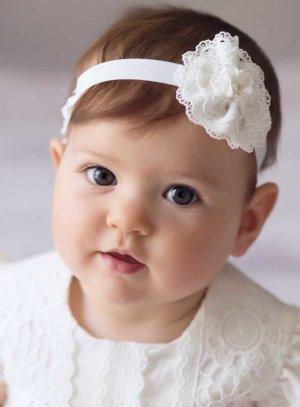 Bandeau bébé cocarde dentelle