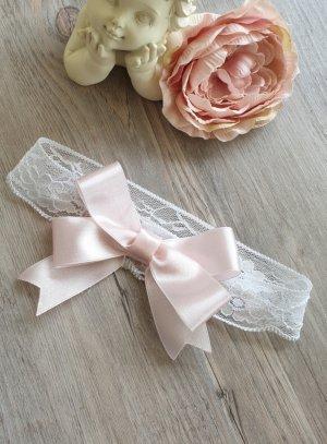 bandeau bébé dentelle et noeud rose
