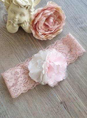 bandeau bébé dentelle rose poudre