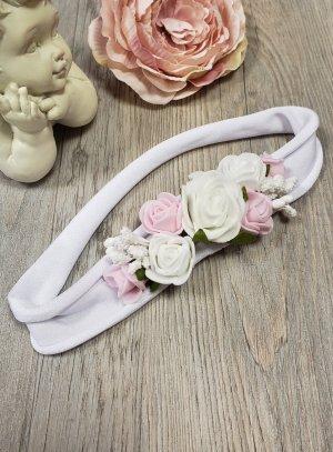 bandeau bébé blanc et rose pour baptême ou mariage