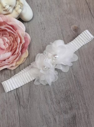 Bandeau bébé fleurs tissu et perle