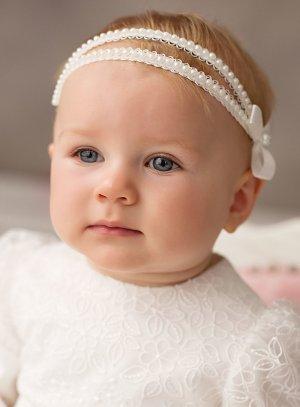 bandeau bébé avec perles et noeud pour cérémonie baptême ou photo bébé