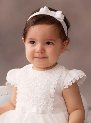 bandeau bébé petit noeud écru