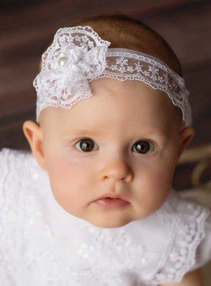 Bandeau dentelle blanche pour bébé
