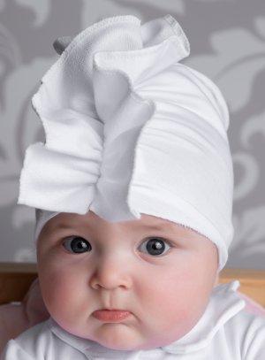 Bandeau large froufrou turban BLANC