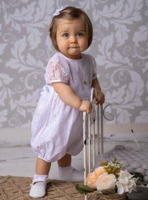 barboteuse baptême bébé fille dentelle