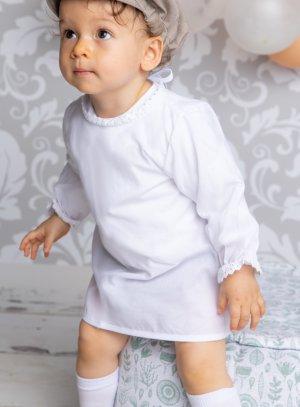 Bavoir blanc en coton vintage avec manches longues