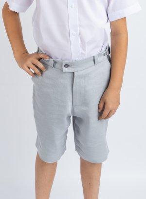 Bermuda en lin garçon gris bleu