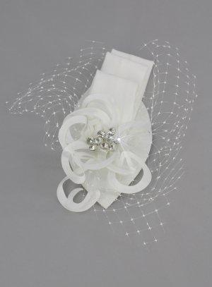 peigne bibi avec voilette ivoire pour coiffure mariage ou cérémonie
