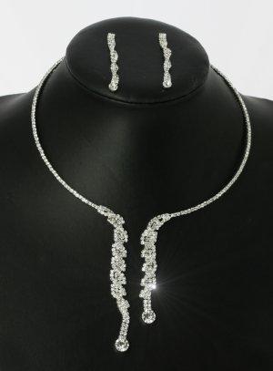 parure strass argent collier + boucle ras du cou pendant