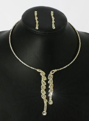 parure strass or collier + boucle ras du cou pendant