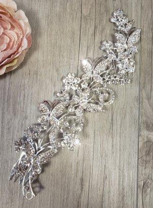 Bijou de tête fleurs de strass et perles argent